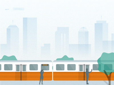 Orange Line material skyline metro subway t orange line train illustration boston