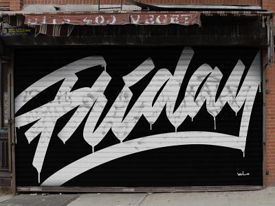 Friday Script concept designermike lettering artist lettering handlettering script art mural