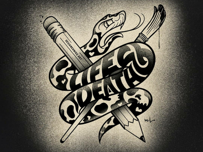 Design or Die snake lettering illustration designermikeart