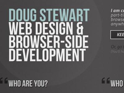 Doug Stewart Design Header brown grey blue white aller portfolio sections bebas neue regular