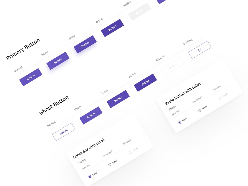 UI Elements design clean creative minimal radio button check box hover button component style guide style design system gost button primary button button design button elements ui