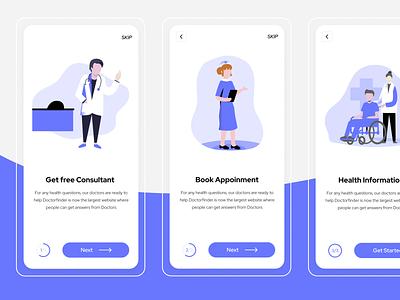 Doctor Apps On-Boarding Exploration application app design clean illustration minimal mobile app ux design ui onboarding screen appoinment doctor app on-boarding app