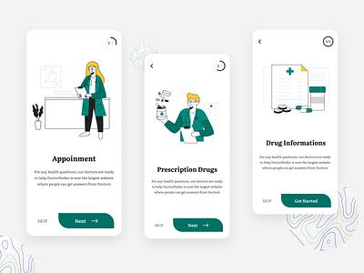 On-Boarding Screen - Doctorfinder ui clean illustration creative minimal design doctor app medical app mobile appoinment doctor finder app apps app screen onboarding