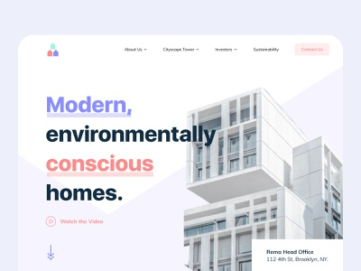 Architecture: Web Header Design realestate modern design landing page architecture website agency ui layout app design clean website landing creative minimal