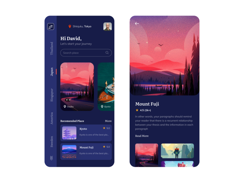Travel App Design Dark Version agency clean creative minimal ios app mobile app book tour plan tour app template travel blog travel app 2020 trend trend travel app trip