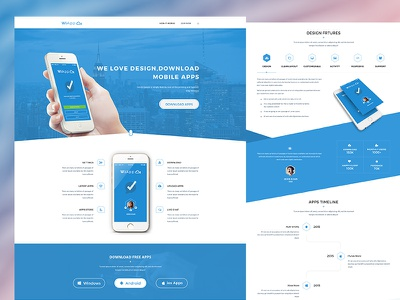 WiApps- Apps Landing Page wiapps web uiux responsive template psd minimal ios page landing apps design