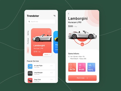 Car rent App cards modern app design clean ui  ux mobile app rental app app