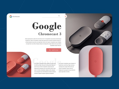 Product Landing Page branding design illustration ui layout page header exploration landing minimalist google chromecast web design ecommerce creative