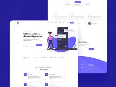 Softare Agency Landing Page app landing page design illustration branding creative agency template clean agency landing page agency website software layout website landing web minimal