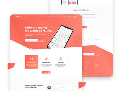 Software Landing Page Design saas template illustration layout website clean web landing agency creative design landing page software