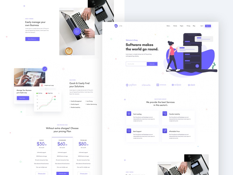 Creative Agency Landing Page app showcase app software visual design layouts ui branding design brand clean ui website design creative agency agency landing page design software design