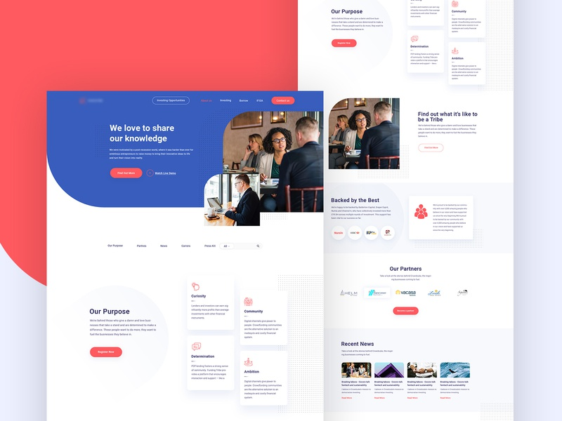 FundingTribe-Property Development website property development ui template illustration agency page website landing design web creative