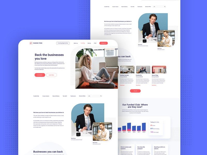 Investing Page template page clean minimal illustration agency website web design creative