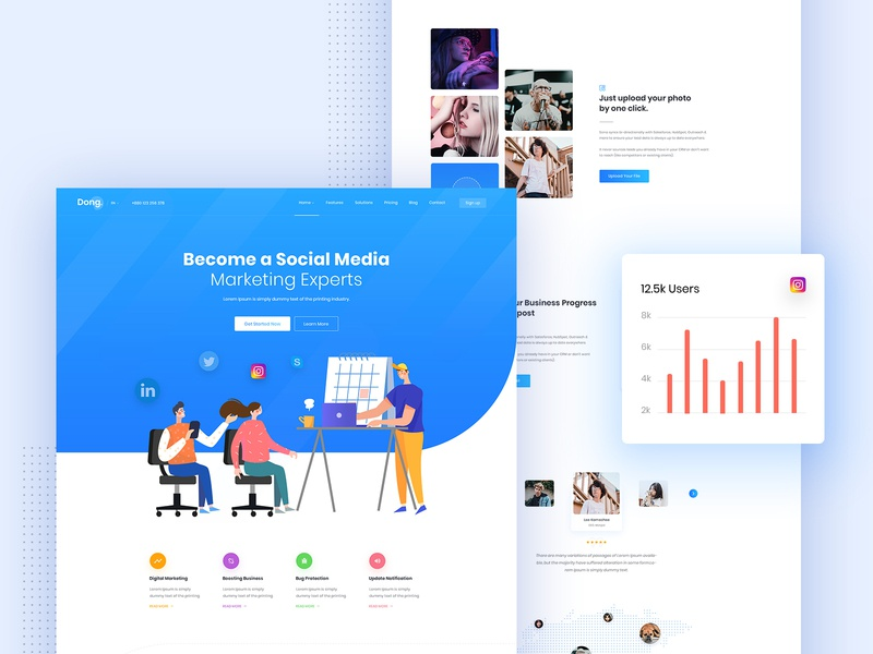 Social Media Marketing Landing page blue social media marketing agency branding template app agency illustration website web landing design creative