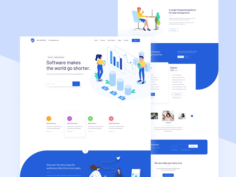 Digital Marketing Landing page 2019 trend trendy corporate agency business template layout creative minimal illustration design website landing marketing digital