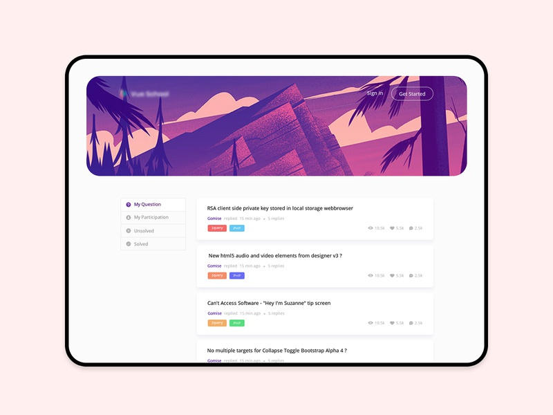 Forum platform app interface ui creative thread question forum card illustration agency website landing design minimal