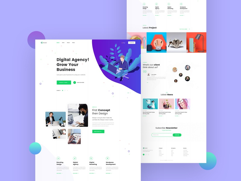 Agency Landing page Design illustration ui branding vector agency website landing web design creative