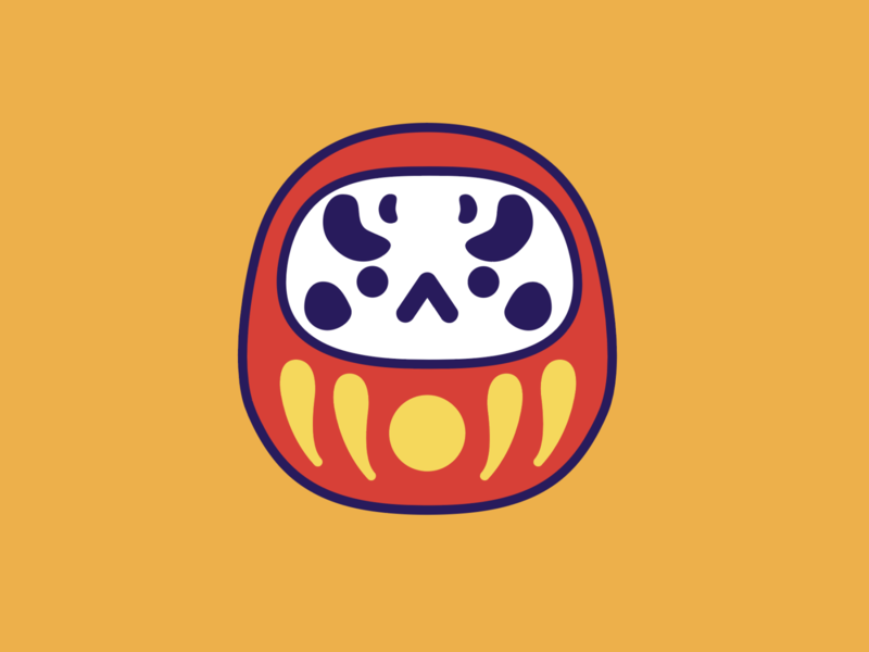 daruma illustration vector angry kawaii japanese doll daruma