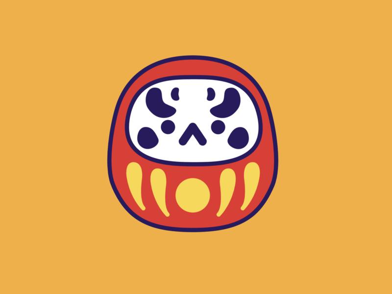 daruma illustration vector angry kawaii japanese doll daruma