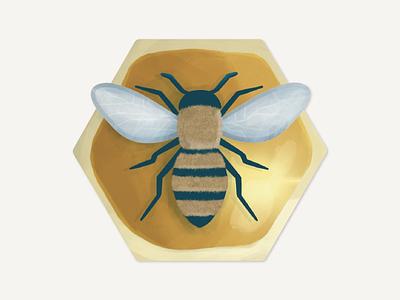 Honeybee Sticker bee sticker nature sticker yellow sticker honeycomb honey bee honey honeybee