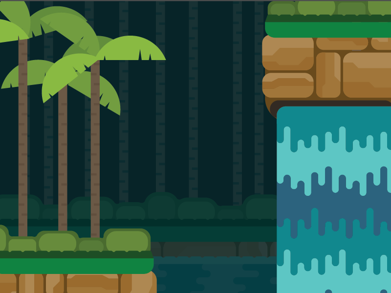 Contra 🌴 retro game waterfall jungle contra