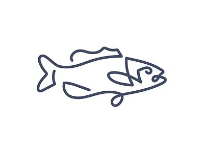 Fish on a line line logo largemouth bass fishing fish line drawing