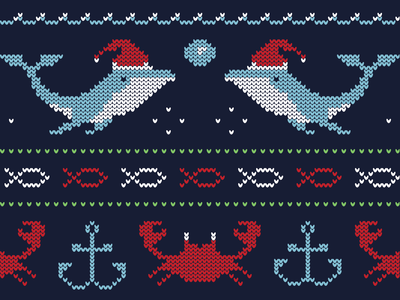 Ugly Ocean ocean tshirt cotton bureau pixel art crab santa hat whale christmas ugly christmas sweater ugly sweater