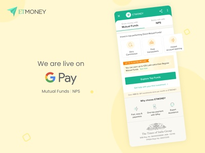 ETMONEY on Google Pay money app money nps mutual funds trust fintech finance product design pay google pay app design app ux ui branding design