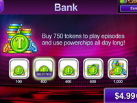 Bank screen for mobile game app