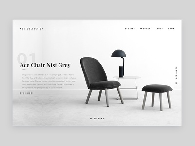 Ace Collection interior design furniture white website minimal web design ux ui