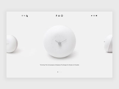 Pao Clock ecommerce design simplicity clock pao white web design ux ui minimal
