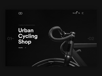 SD Downtown Cycling Shop minimal design ui ux web design black bike cycling