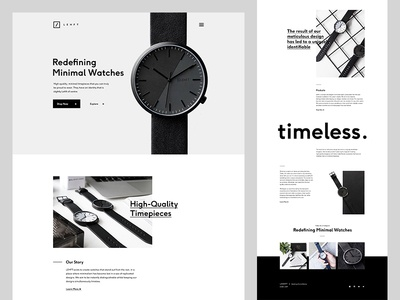 Lehft Watches simple black and white web design design ui ux web clean time watch watches minimal