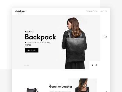 Dudubags website ux ui web design leather minimal backpack dudbags