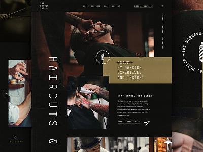 Barbershop minimal fashion barbershop website black design web design ux ui