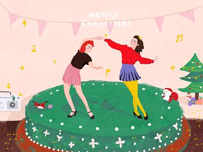 Merry Christmas christmas happy music cake girl iiiustrator