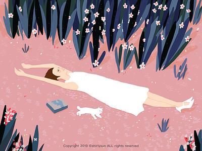 Spring Equinox brush cat grassland girl iiiustrator