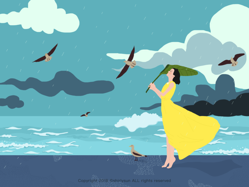 Rainwater beach birb cloud brush girl illustration