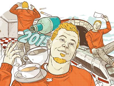 New Year christianschupp illustration vector aro berlin wams newyear train man orange guy