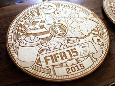 EA Sports / FIFA 15 Pressecup Medaillen soccer christianschupp berlin aroone aro laser vector wood illustration fifa15 electronicarts easports