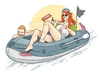 Boat Illustration WAMS 2015 summer sun swim boat christianschupp aroone aro wams berlin vector illustration