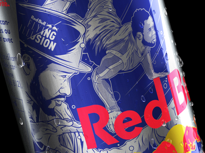 Red Bull Flying Illusion Can France breakdance character vector flyingsteps flyingillusion can france aroone aro illustration redbull