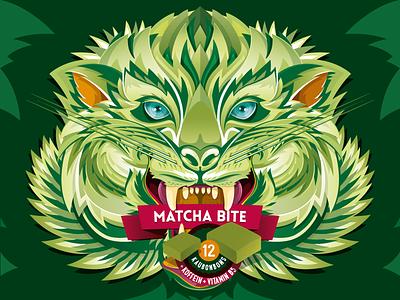 Matcha Bite design candy green packaging berlin aroone aro vector toffee matcha tiger illustration