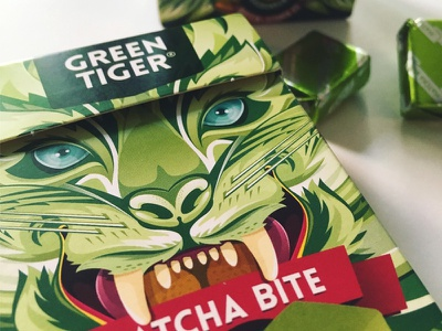 MATCHA BITE Packaging vector toffee tiger packaging matcha illustration green design candy berlin aroone aro