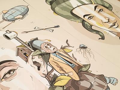 Some new Prints  turtle face bone arrow monkey print medusa vector illustration aroone