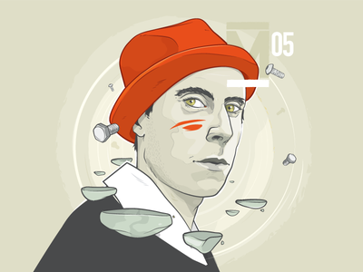 Mundt face wacom character steps mundt music design chrisschupp aroone aro vector illustration