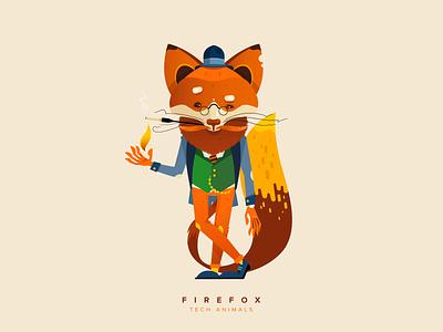 Meet Mr. Firefox for Git-Tower tech animals christian schupp aroone animal tower gittower vector illustration character fox firefox