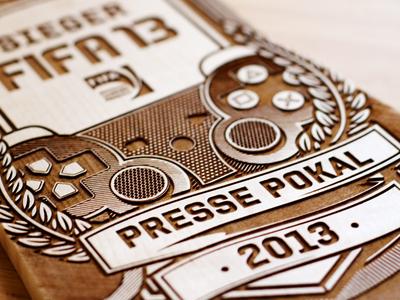 EA Presse Pokal cup wood laserworks laser illustration electronic arts ea aro