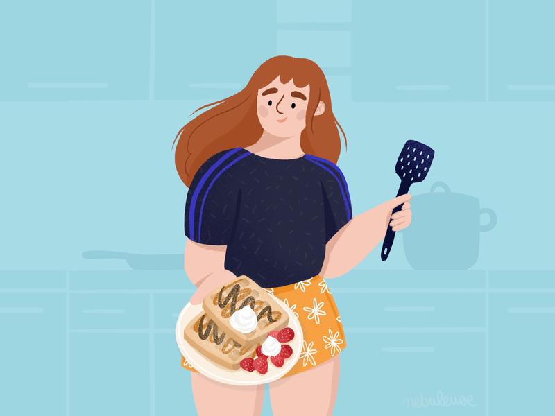 Waffle girl staysafe stayhome flat illustration illustrator cook waffle character flat draw drawing procreateapp procreate digitalart doodle design illustration