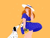 A Girl and her dog...and tulips stay safe stayhome character design character illustrator market happy girl tulip dog girl digital drawing draw art procreateapp procreate digitalart doodle design illustration